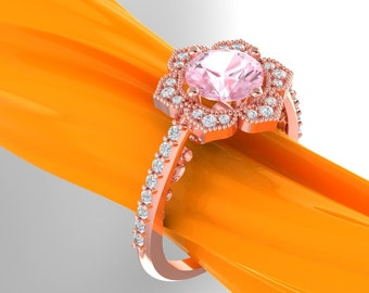 Morganite Engagement Ring Diamond Wedding Ring Vintage Floral Ring In 14k Rose / White Gold eng426