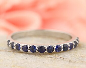 Stackable Half Eternity Top Blue Sapphire Wedding Band Ring   In 14k White  ,Rose or Yellow Gold Gem1283