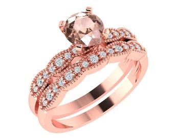 Art Deco Antique Style Natural Morganite and Diamond Engagement Ring Set ,Wedding Ring Set Gem1277