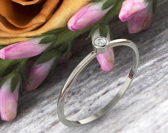 White  Gold Diamond Ring/ 14k White Gold Bezel Set Diamond 0.03 ctw Engagement Ring/ Promise Ring/ Dainty Diamond Ring --Ready to Ship