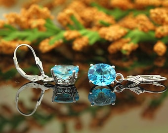 Natural AAA Paraiba-Color Topaz earrings Vintage Scroll Style Earrings 14k white Gold Blue Topaz Earrings 10x8mm Oval dangle Earring