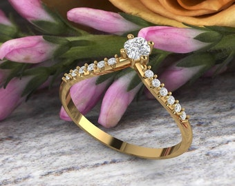 Unique Curved wedding band 14K gold Cushion Diamond/Moissanite wedding ring stacking matching band Bridal set Promise Gift for women