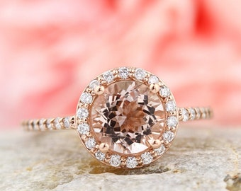 Natural Morganite Ring Set, Diamond Halo Morganite Engagement Ring in 14k Roes gold, 7mm gemstone - Gem1203