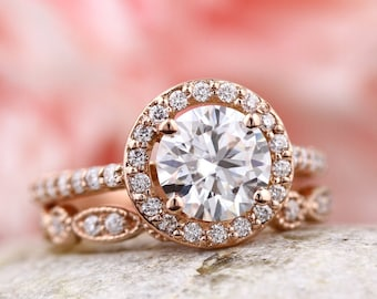 14k Rod Gold  Moissanite (EF) Engagement Ring Set, Wedding Ring Set, Floral Style With art deco band In 14k Rose Gold Gem1445
