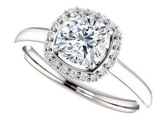 1 ct  Forever One (GHI) Moissanite Solid 14K White Gold Diamond Engagement Ring cushion cut - ST233171R
