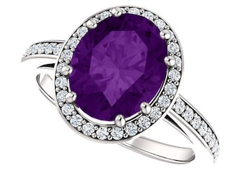 Natural 10x8mm  Purple Amethyst Solid 14K White Gold Diamond engagement  Halo Ring ST233199