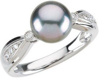 8mm Grey Tahitian Pearl  and  Diamond Ring ---- 14k White Gold ST78259