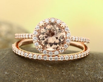 Natural AAA Morganite Ring Set, Diamond Halo Morganite Engagement Ring Band Set, Roes gold, 7mm gemstone - Gem1203