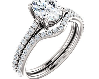 Certified Forever One Moissanite Oval 8x6mm 14K White Gold Engagement Ring Set,Bridal Set-ST82710 (Other metals and stone options available)