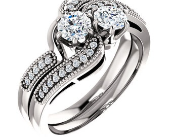 TWO STONE Engagement Ring  Forever One (GHI) Moissanite In 14K White Gold  Engagement Ring Set,Bridal Ring Set -ST233041