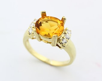 SPECIAL OFFER Stunning 2.53  cts Natural Golden Yellow Citrine Solid 14K yellow Gold diamond ring