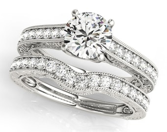 1ct Forever Brilliant Moissanite  14K White Gold Vintage Style Engagement  Ring Set  - OV61759 (Other metals & stone options available)