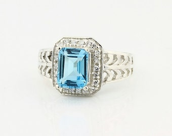 Natural 2.15ct Swiss Blue Topaz Solid 14K White Gold Diamond Ring