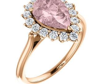 Natural AAA 10x7mm  Pear Pink Morganite  Solid 14K Rose Gold Diamond engagement Halo Ring Set- ST82717
