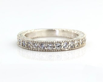 Natural Diamond Antique style Wedding Band Ring 14k White Gold Gem826