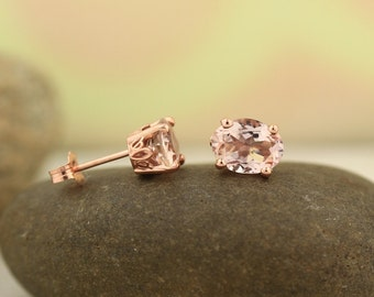 AAA Morganite Scroll Setting Earrings 14k Rose Gold Morganite Stud Earrings 8x6mm Oval Post Earring ****On Sale****