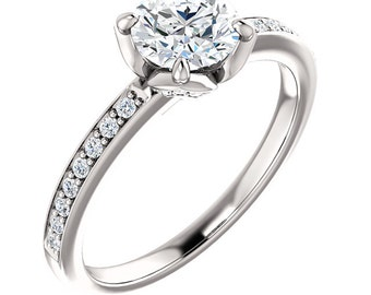 6mm  3/4ct Round  Forever One (GHI) Moissanite Solid 14K White Gold Diamond  Engagement  Ring   - ST233155