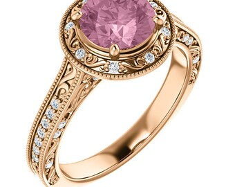 AAA Morganite  and Diamond Halo Vintage Style Engagement Ring In 14k Rose Gold, 7mm Round  - ST234149