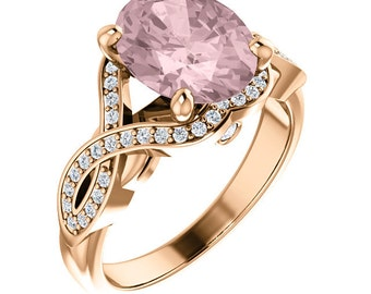 Natural AAA 10x8mm Oval  Morganite  Solid 14K Rose  Gold Diamond Engagement Ring Set-ST233637