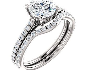 Certified FO Moissanite Round 7mm 14K White Gold Engagement Ring Set, Bridal Set - ST82710 (Other metals and stone options available)