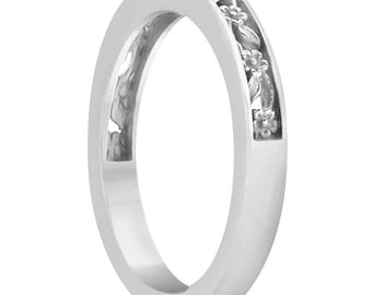 Sculptural Eternity Flower Design Wedding Band in 14k White /Yellow /Rose Gold ****Special for you*****-ENS4302