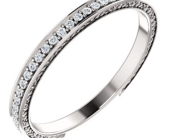 Stackable Eternity Band ,Floral Sculptural Diamond 3/4 Eternity Band Ring Diamond Anniversary Band in 14k Gold ST233961-1483