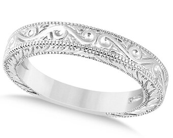 Antique Engraved Wedding Band w/ Filigree & Milgrain 14k White   Gold ****Special for you*****-ENS2924