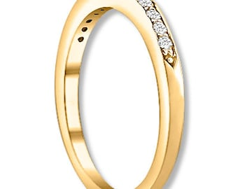 14K White / Yellow / Rose  Gold  Natural Round Diamond Wedding Band  Aniversary Ring ENS4112