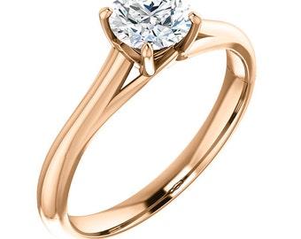 5mm Round 0.5ct Forever One Moissanite (Near-Colorless) 14K Rose Gold Diamond Engagement Ring  Gem887