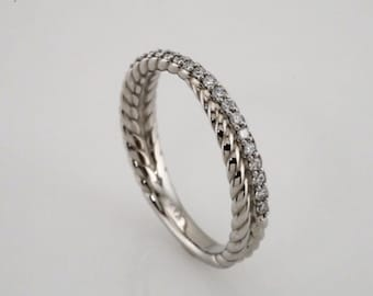 Diamond Rope  Band 14K White / Yellow / Rose  Gold  Natural Round Diamond Wedding Ring Aniversary Ring ST233093