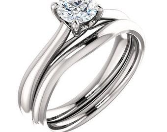 5mm Round 0.5ct Forever One (GHI) Moissanite 14K White Gold Diamond Engagement Ring  *******Specail  For  You*****ST233566-1086