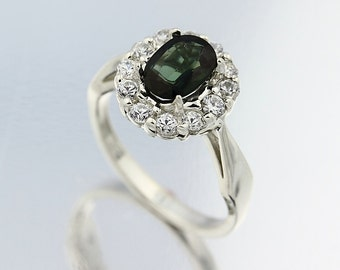 Natural Green Tourmaline Solid 14K White Gold Diamond Ring