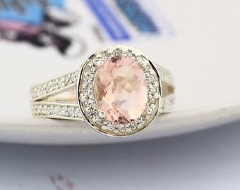 Natural Checkerboard Cut Morganite  Solid 14K White Gold Diamond  Ring