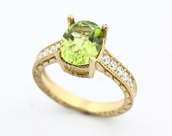 Natural Green Peridot Solid 14K Yellow Gold Diamond Ring