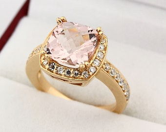 Natural 9x9mm Cushion shape checkerboard cut  Morganite  Solid 14K Rose Gold Diamond engagement Ring