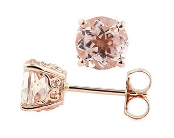 Solid 14k Rose Gold Morganite Stud Earrings