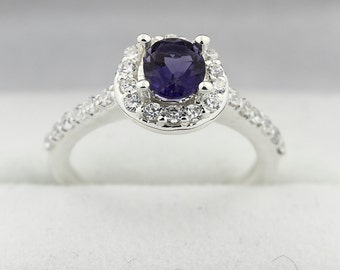 6x5mm  Natural Violet Iolite Solid 14K White Gold Diamond Ring