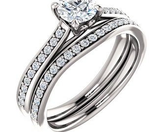 1/2ct 5mm Round Forever One (GHI) Moissanite  Solid 14K White Gold   Engagement  Ring Set  - ST82823-1114
