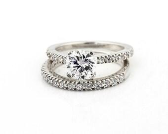 Stunning 6.5mm  White Sapphire Solid  14k white Gold Diamond  Engagement Ring Set