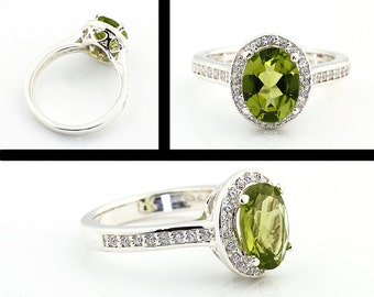 Natural  Green Peridot Solid 14K White Gold Diamond Halo  Engagement  Ring