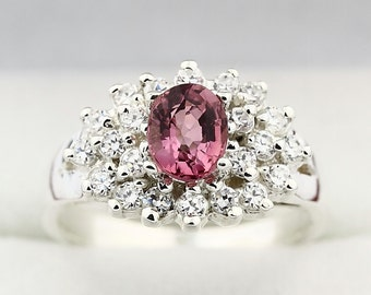 Natural  Pink Tourmaline Solid 14K White Gold Diamond Ring