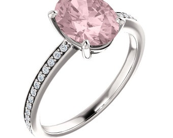 Natural AAA 10x8mm Oval  Morganite  Solid 14K White Gold Diamond  Engagement Ring Set-ST233459