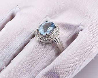 Natural AAA blue aquamarine  Solid 14K White Gold diamond Ring-Gem35