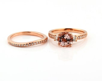 Natural  Round Pink Morganite  Solid 14K Rose Gold Diamond engagement  Ring set - Gem838