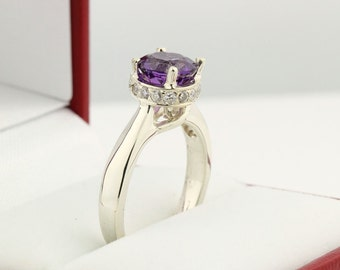 Natural purple Amethyst Solid 14K White Gold Diamond Solitaire  Ring