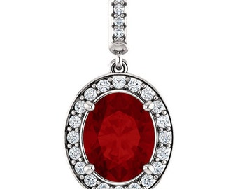 """Natural  10x8mm Oval  Red Garnet  Solid 14K White Gold Diamond pendant with 18"""" Cable chain- ST97183"""