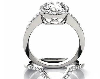 1ct  6.5mm  Forever One (GHI) Moissanite Solid 14K White Gold  Halo  Engagement  Ring Set  - OV94500