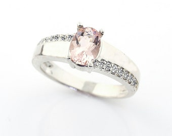 Natural   Morganite  Solid 14K White Gold Diamond engagement Ring