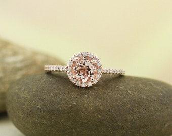 Morganite Engagement Ring  Diamond Wedding Ring In 14k Rose Gold Gem1378