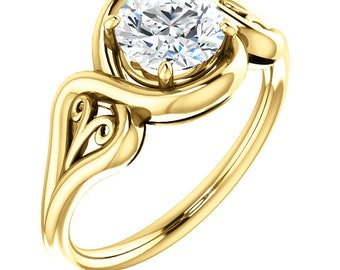 1 ct  Forever One Moissanite (Near-Colorless) Solid 14K Yellow  Gold  Floral Solitaire Engagement Ring ST233621